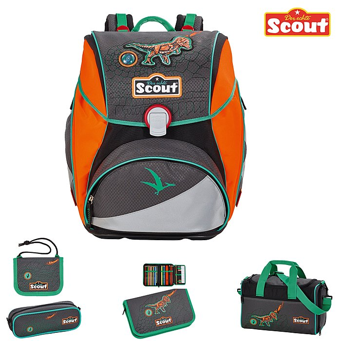 scout alpha schulranzen set neon dino schulrucksack. Black Bedroom Furniture Sets. Home Design Ideas