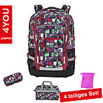 4YOU Schulrucksack Jump, 4 teiliges Set Squares Mint
