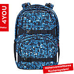 4YOU Schulrucksack Pekka Geometric Blue 33,5L Volumen und Notebookfach