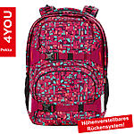 4YOU Schulrucksack Pekka Geometric Red, 33,5L Volumen und Notebookfach