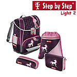 Step by Step Light2 Unicorn, 4 tlg Schulranzen Set