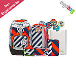 ergobag Pack Schulrucksack Bär2-D2, 7tlgs Set Stripes Edition