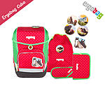 ergobag Tornister cubo Rote Punkte GaloppB�r Set