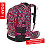 4YOU Schulrucksack Jump Geometric Red, 30L Volumen und Laptopfach